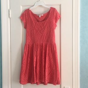 Salmon colored lace dress